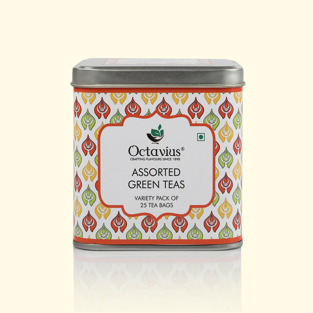 Load image into Gallery viewer, OCTAVIUS ASSORTED GREEN TEAS, VARIETY PACK OF 25 TEA BAGS IN CLASSIC SQUARE TIN