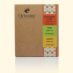 Load image into Gallery viewer, Octavius 3 Assorted Green Tea Flavors Pure Green, Lemon Green & Cinnamon Anise Economy Pack - 100 Teabags