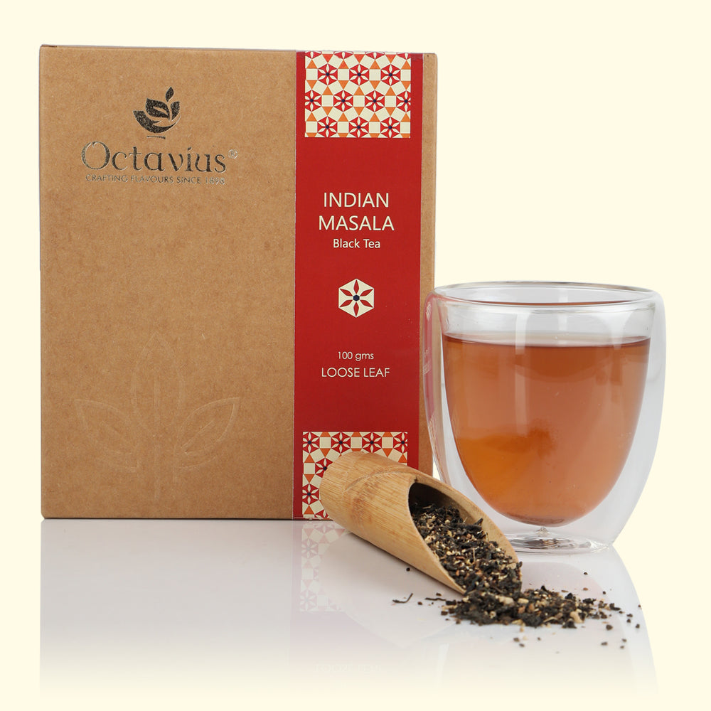 Octavius Indian Masala Chai Loose Leaf Tea in Craft Paper Box - 100 gms