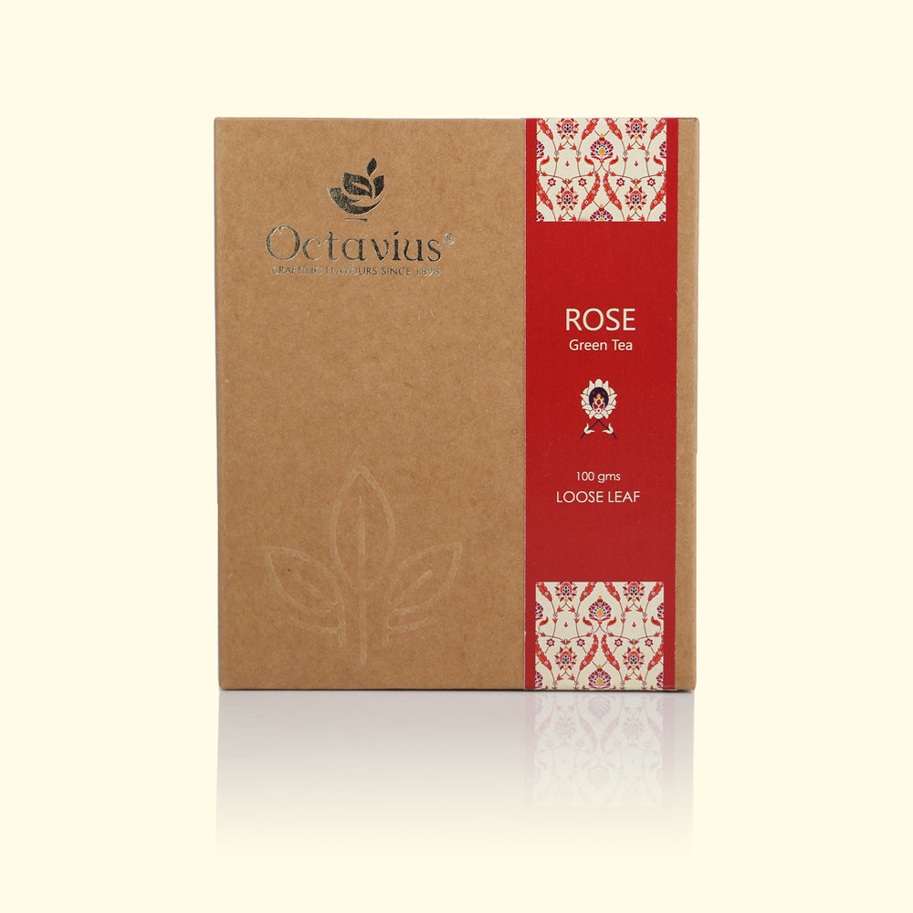 Load image into Gallery viewer, Octavius Rose Green Loose Leaf Tea - 100 Gms