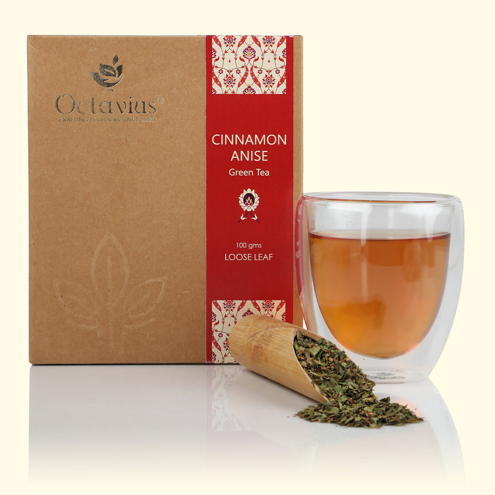 Octavius Cinnamon Anise Green Tea Loose Leaf in Craft Paper Box - 100 Gms