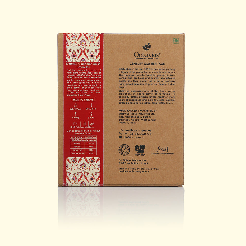 Load image into Gallery viewer, Octavius Cinnamon Anise Green Tea Loose Leaf in Craft Paper Box - 100 Gms