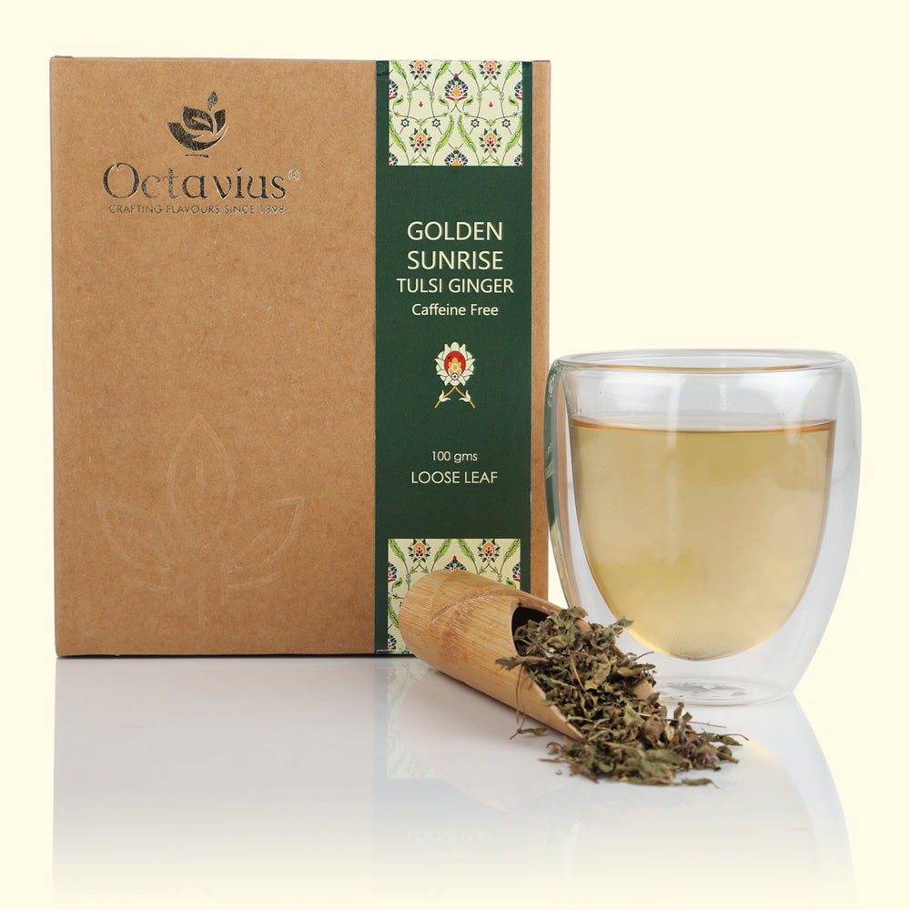 Golden Sunrise Tulsi Ginger Herbal Tea