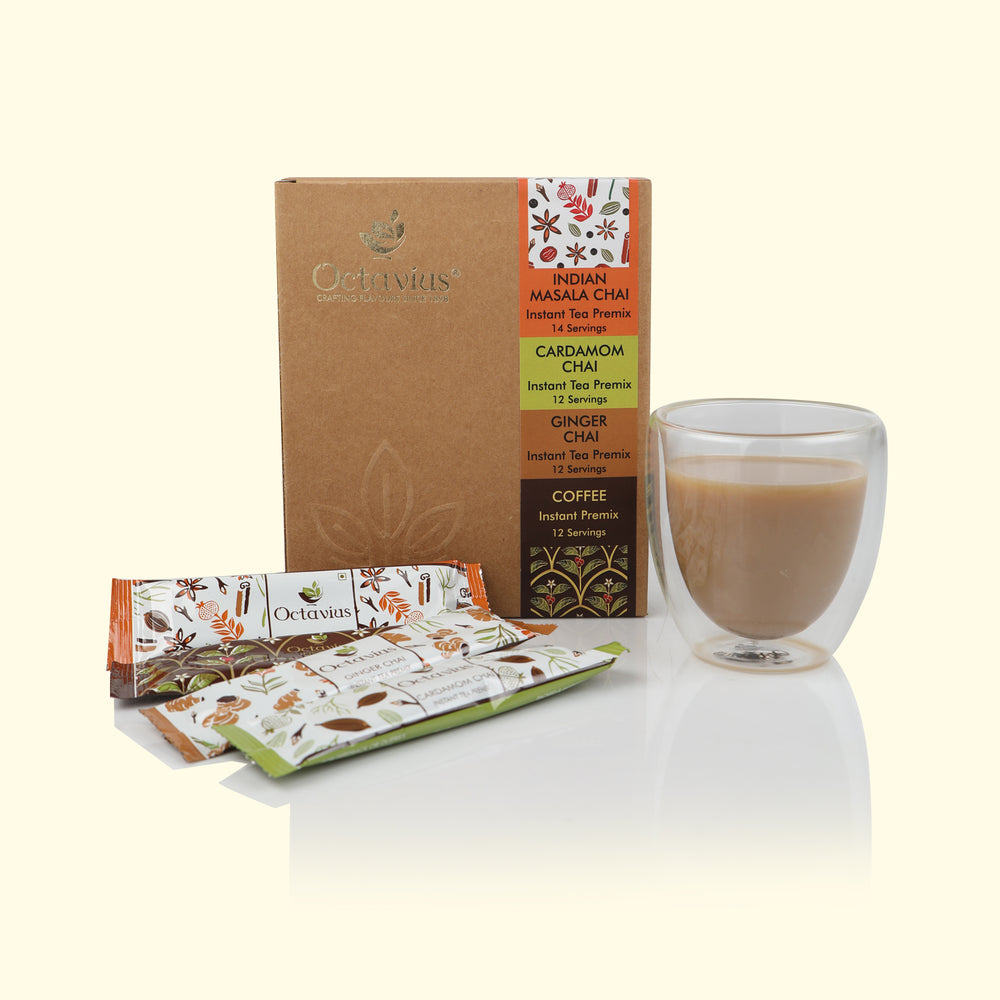 Octavius 4 in 1 Indian Masala, Ginger, Cardamom and Coffee Ready Tea & Coffee in Economy Pack - 50 Sachet
