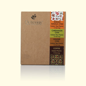 Load image into Gallery viewer, Octavius 4 in 1 Indian Masala, Ginger, Cardamom and Coffee Ready Tea & Coffee in Economy Pack - 50 Sachet