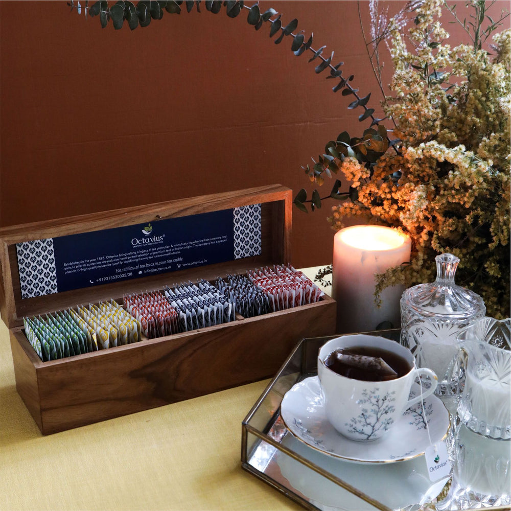 Assortment of Fine Black & Green Teas (darkwoodwooden Gift Box)  60 Tb