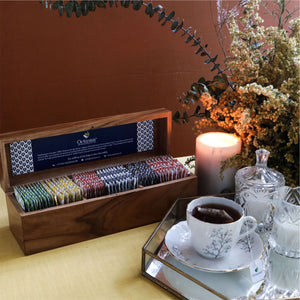 Load image into Gallery viewer, Assortment of Fine Black & Green Teas (darkwoodwooden Gift Box)  60 Tb