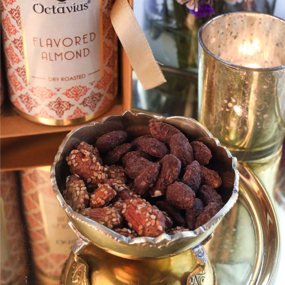 Load image into Gallery viewer, Gourmet Flavoured Almonds-Chocolate & Caramel (2 Tins)