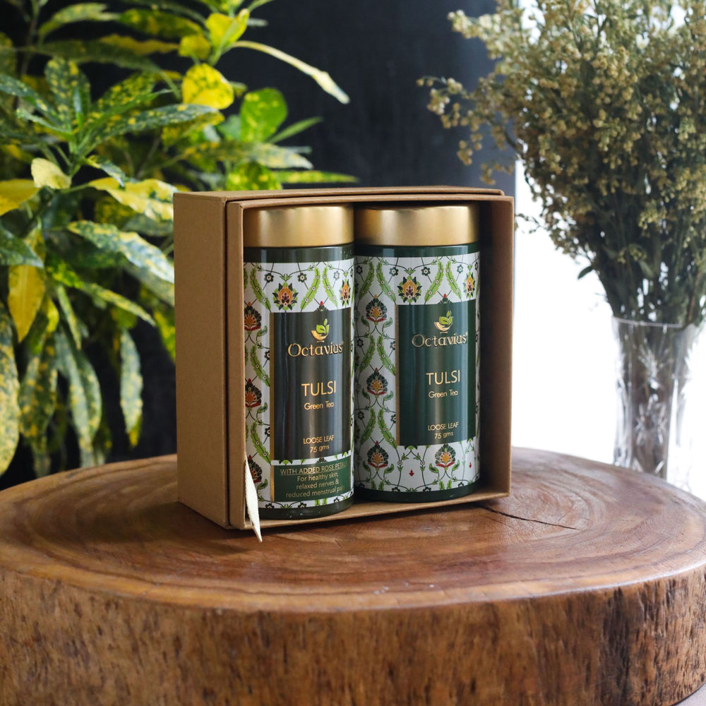Octavius Gourmet Tea Collection| Truly Tulsi Teas Ranges - 2 Tins Packed In An Exclusive Gift box