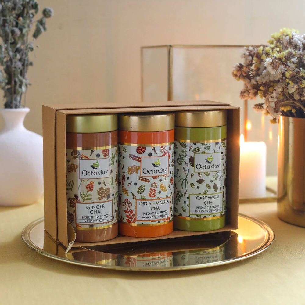 Octavius Gourmet Tea Collection| On The Go Range - 3 Tins Packed In An Exclusive Gift box