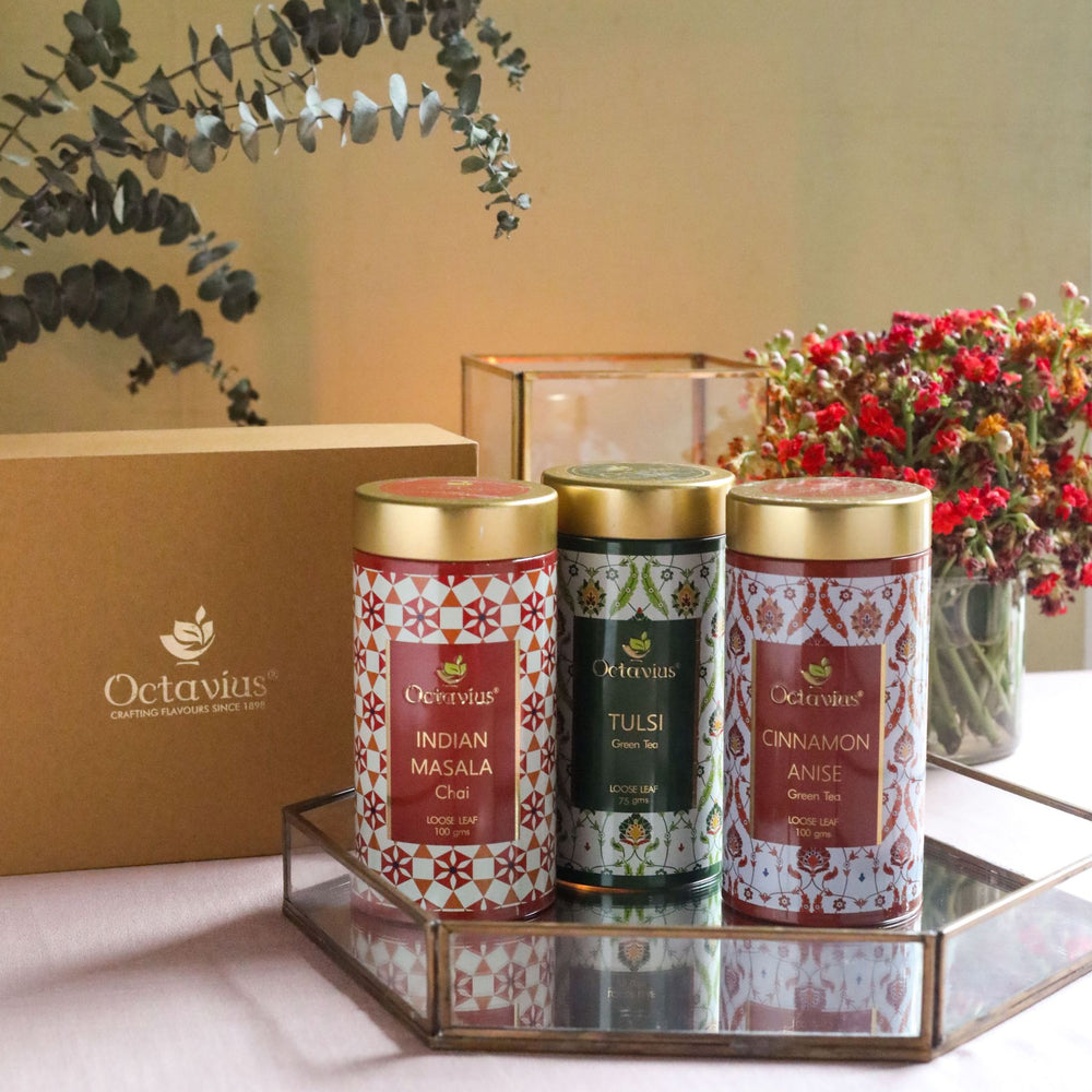 Load image into Gallery viewer, Octavius Gourmet Tea Collection| Spice Trails Range - Two Green and One Black Loose leaf Teas Packed In An Exclusive Gift box