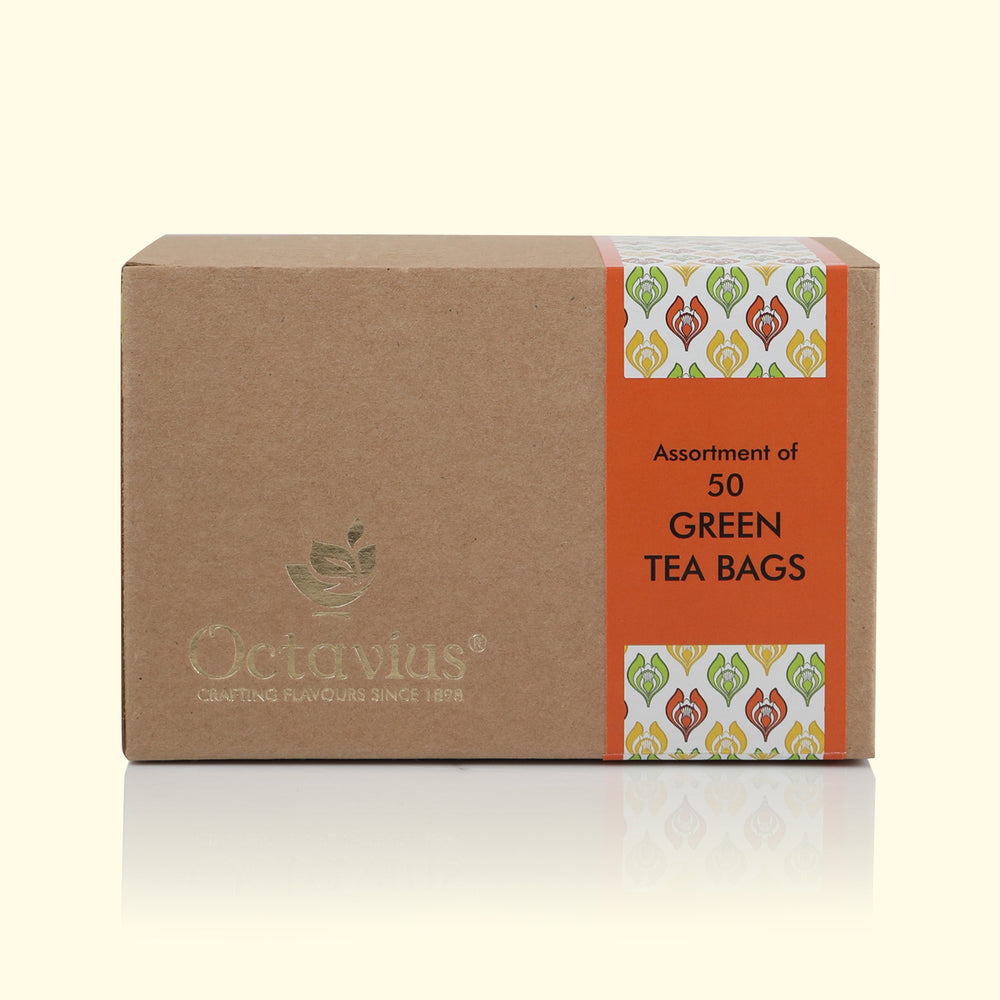 Load image into Gallery viewer, Octavius 3 Assorted Green Tea Flavors Pure Green, Lemon Green & Cinnamon Anise Economy Pack - 50 Teabags