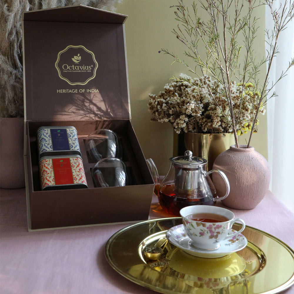 Heritage of India Tea Collection-2 Assorted Teas & 2 Double wall Glass