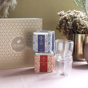 Load image into Gallery viewer, Heritage of India Tea Collection-2 Assorted Teas & 2 Double wall Glass