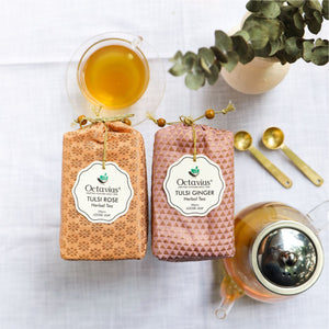 Load image into Gallery viewer, Assortment of 2 Caffeine Free Loose Leaf Tisanes (tulsi Rose, Tulsi Ginger)