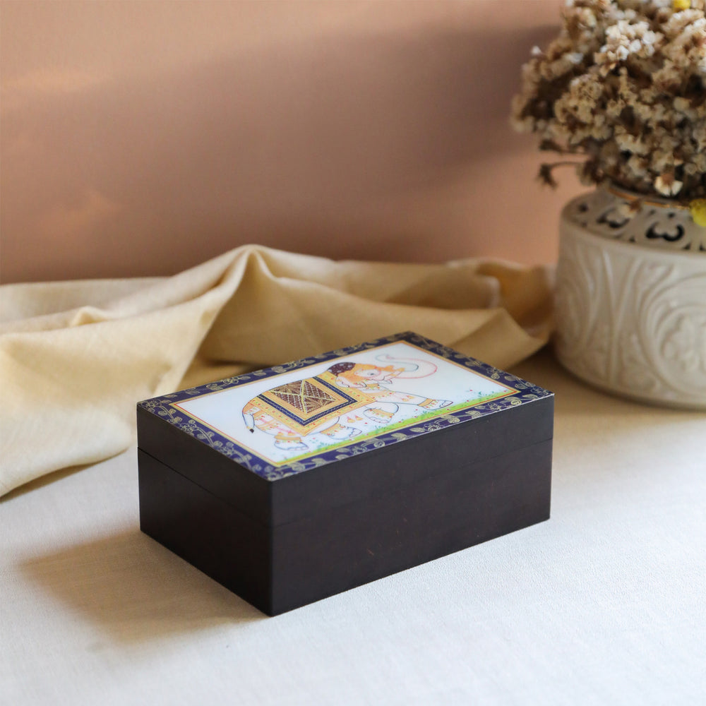 Load image into Gallery viewer, Tulsi Sweet Rose Chamomile Herbal Tea in Elephant Print Wooden Box (Caffeine Free)