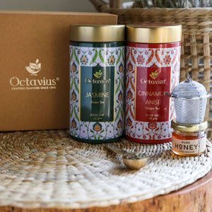 Load image into Gallery viewer, Octavius Tea Essentials Range | Floral Wellness | 2 Wellness Green Tea Blends with an Infuser and Mini Honey jar