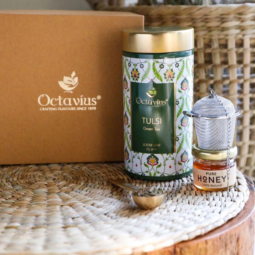 Load image into Gallery viewer, Octavius Tea Essentials Range | Holy Basil | 1 Wellness Tulsi Green Tea with an Infuser and Mini Honey jar