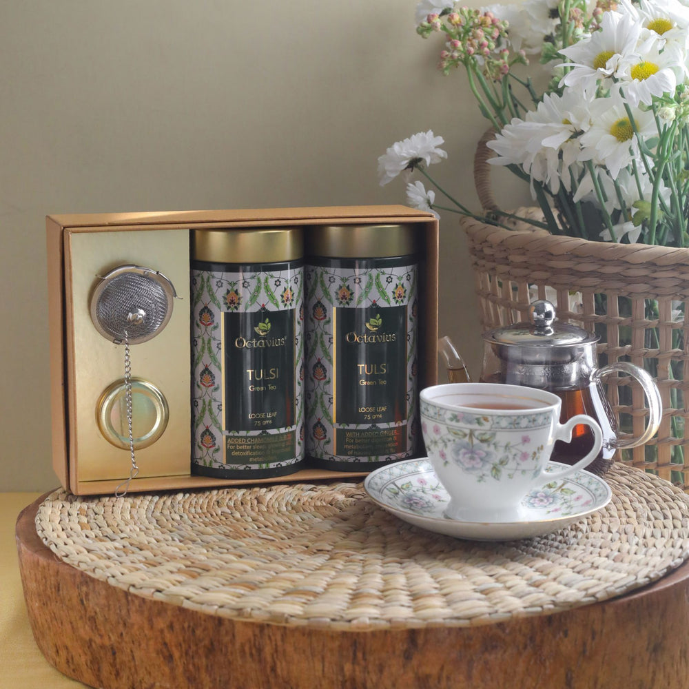 Octavius Tea Essentials Range | Truly Tulsi | 2 Wellness Tulsi Green Tea Blends with an Infuser and Mini Honey jar
