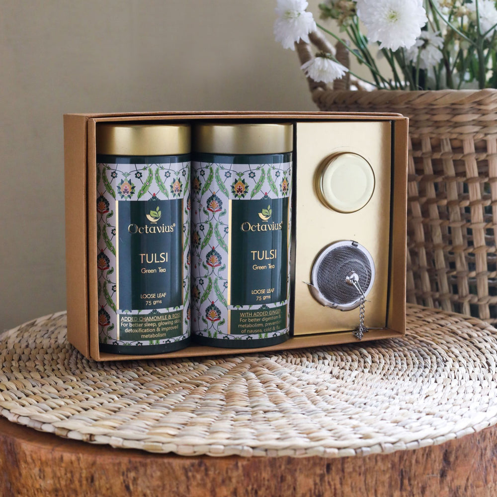 Load image into Gallery viewer, Octavius Tea Essentials Range | Truly Tulsi | 2 Wellness Tulsi Green Tea Blends with an Infuser and Mini Honey jar