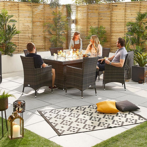 Amelia 6 Seat Rattan Dining Set - 1.5m x 1m Rectangular Firepit Table