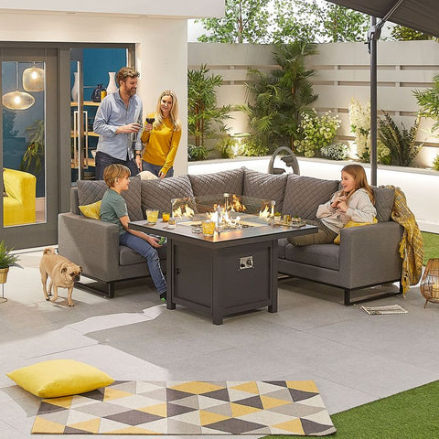 Compact Eclipse Outdoor Fabric Casual Dining Set with Firepit Table