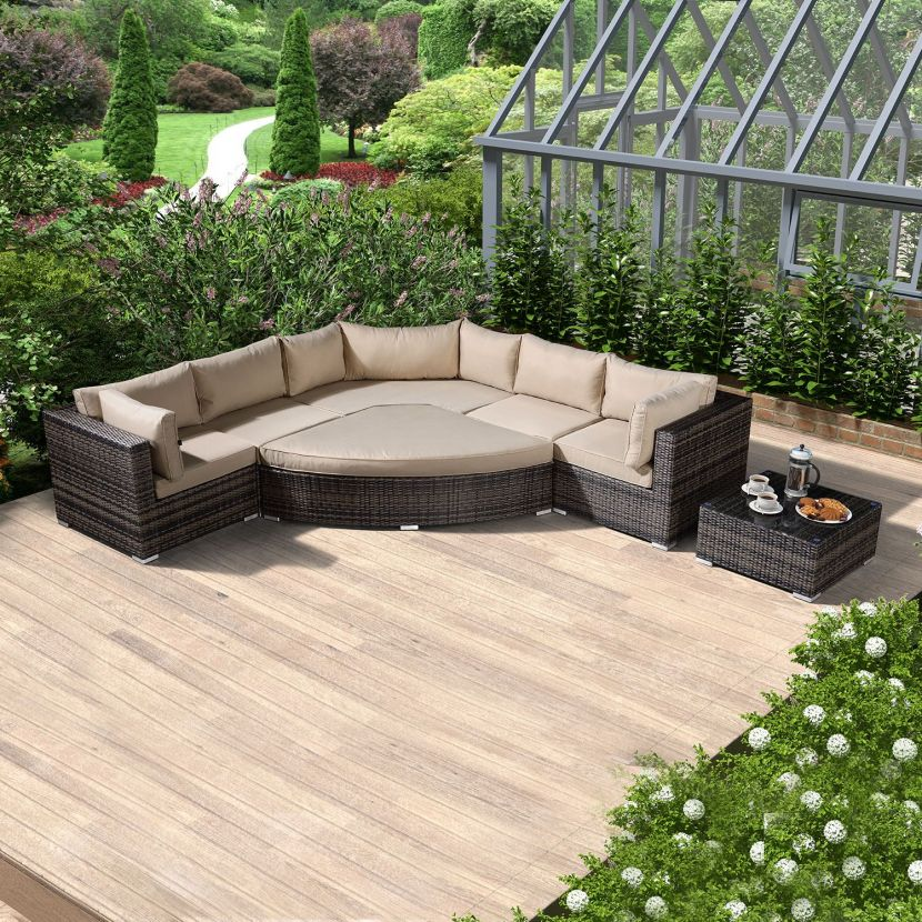Brown Rattan with Beige Cushions