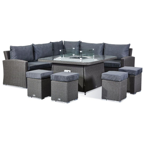 Deluxe Ciara Casual Dining Corner Sofa Set with Firepit Table
