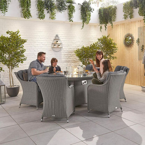 Camilla 6 Seat Dining Set - 1.5m Round Firepit Table