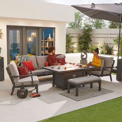Vogue Aluminium Casual Dining 3 Seater Sofa Set with Firepit Table & Bench