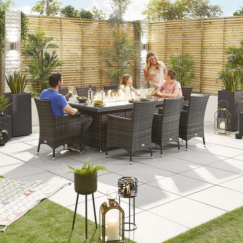 Amelia 8 Seat Dining Set - 2m x 1m Rectangular Firepit Table