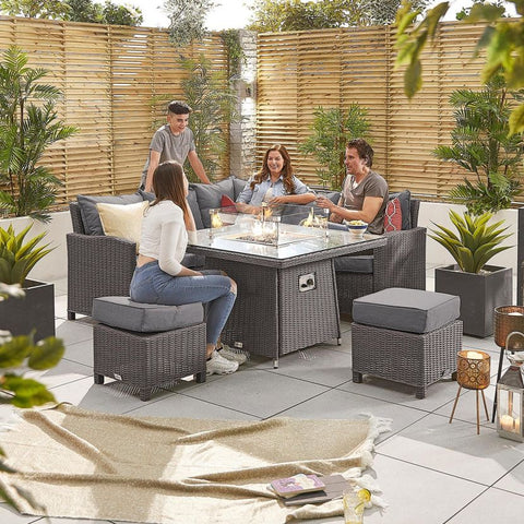 Compact Ciara Casual Dining Corner Sofa Set with Firepit Table