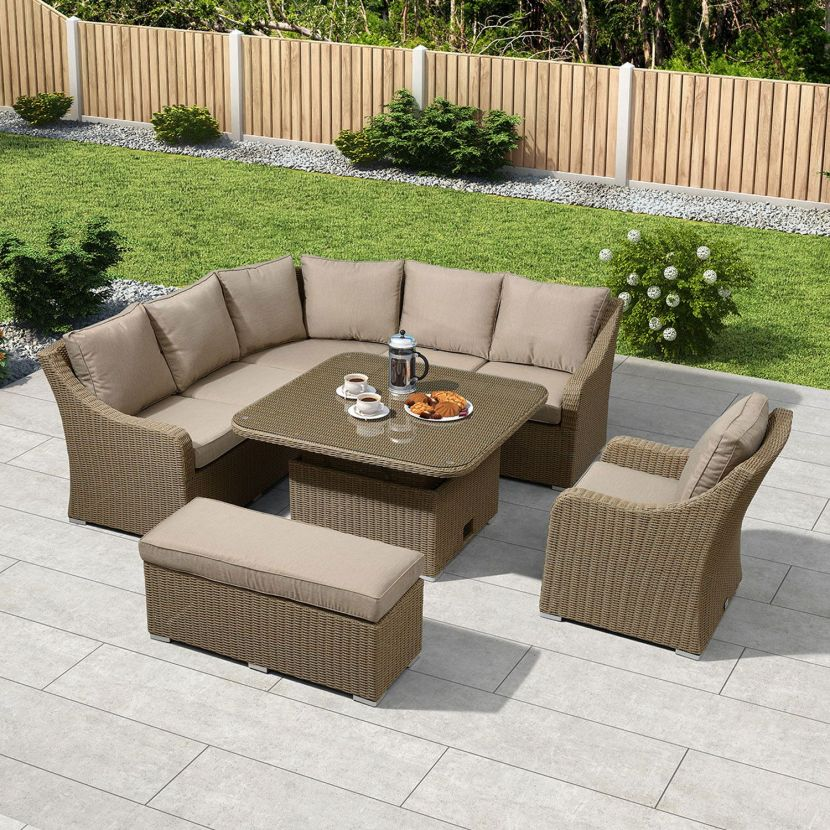 Willow Rattan with Beige Cushions