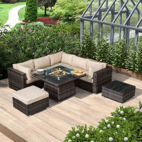 Chelsea 1C Corner Sofa Set with Firepit Table