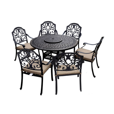 Cotswold 6 Seat Round Dining Set with Lazy Susan - 1.5m Round Table