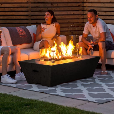 Fireglow Gladstone Rectangular Gas Firepit Coffee Table with Wind Guard