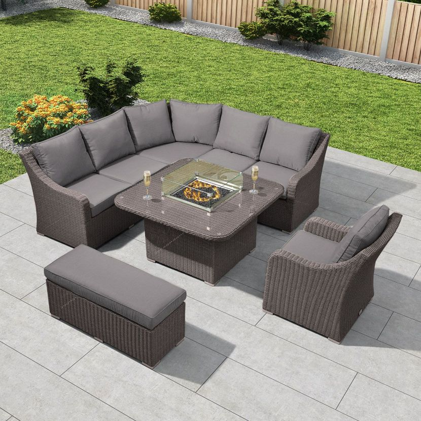 Slate Grey Rattan with Grey Cushions