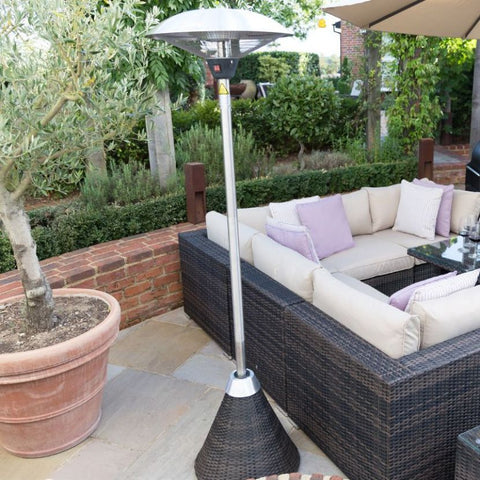 2.1kW Free Standing Electric Patio Heater with Rattan Base