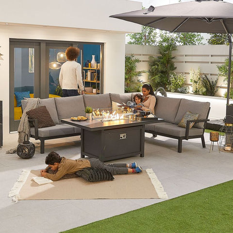 Vogue Aluminium Casual Dining Corner Sofa Set with Firepit Table