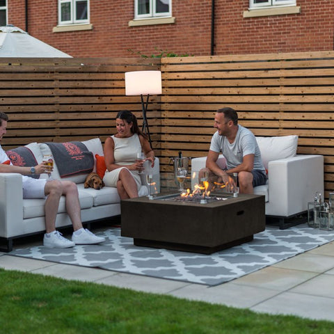 Fireglow Albany Square Gas Firepit Coffee Table with Wind Guard