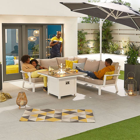 Compact Vogue Aluminium Casual Dining Corner Sofa Set with Firepit Table