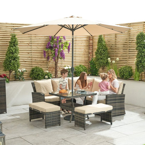 Compact Cambridge Casual Dining Corner Sofa Set with Parasol Hole