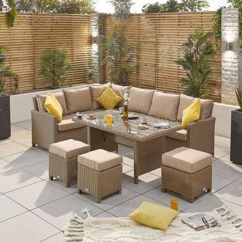Ciara Left Hand Casual Dining Corner Sofa Set with Parasol Hole