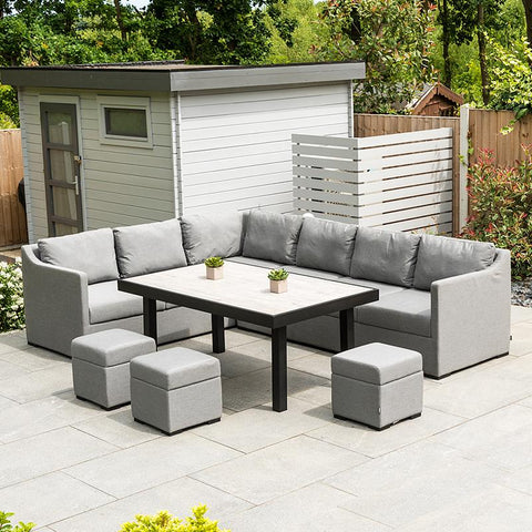 Nova - Fino Outdoor Fabric Corner Dining Set with Stools - Flanelle