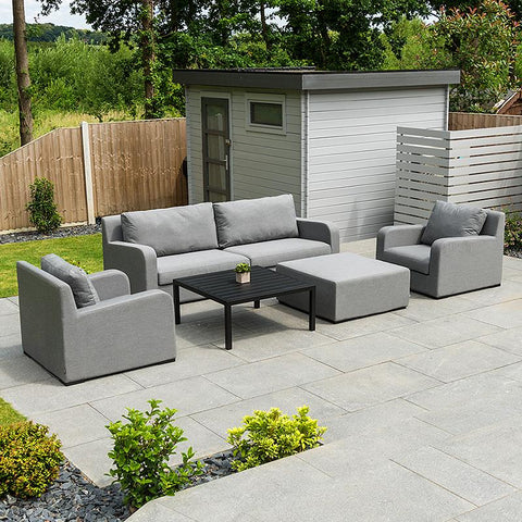 Nova - Riva Outdoor Fabric 2 Seater Sofa Set with Coffee Table & Footstool - Flanelle