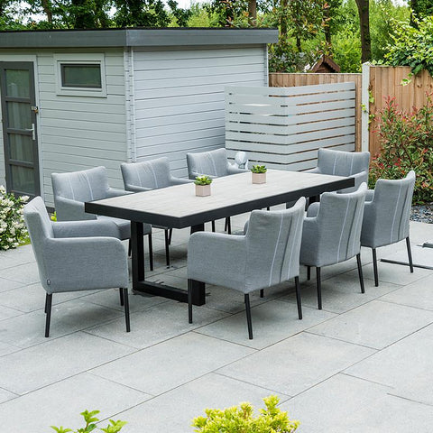Nova - Hadid 8 Seat Rectangular Outdoor Fabric Dining Set - Flanelle