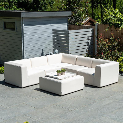 Nova - Toft Outdoor Fabric Square Corner Sofa Set With Square Footstool