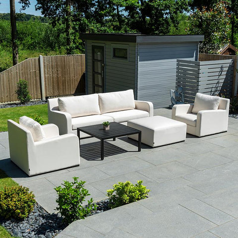 Nova - Riva Outdoor Fabric 2 Seater Sofa Set with Coffee Table & Footstool - Canvas