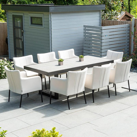 Nova - Hadid 8 Seat Rectangular Outdoor Fabric Dining Set - Canvas
