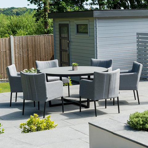 Nova - Hadid 6 Seat Round Outdoor Fabric Dining Set - Flanelle